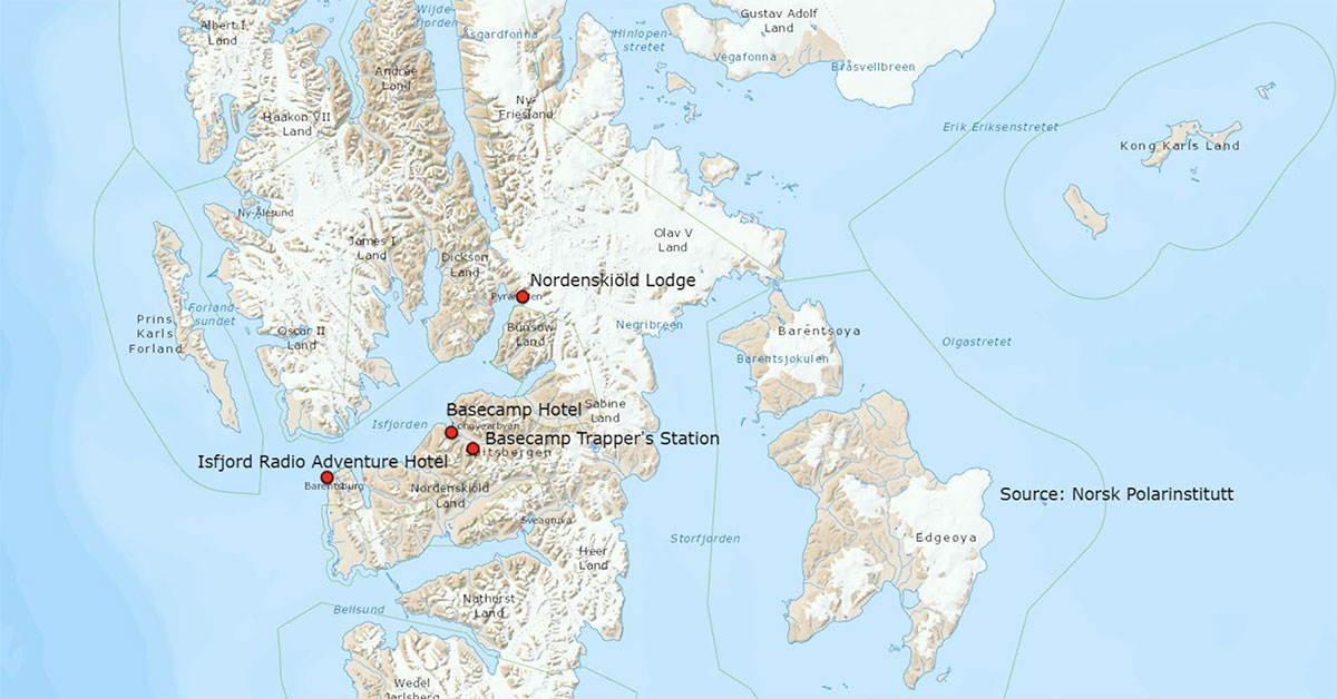 Map of Basecamp locations in Spitsbergen